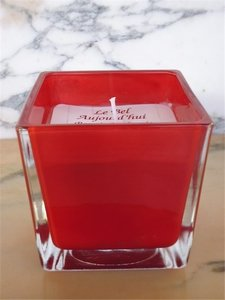 Scented Candle in red glass jar