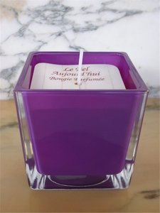 Scented Candle in purple glass jar